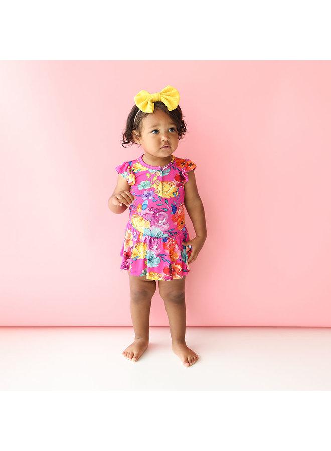 Aminatu - Ruffled Capsleeve Henley Twirl Bodysuit