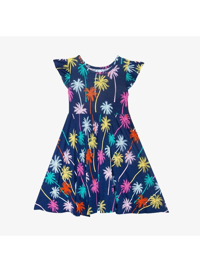 Palmer - Ruffled Capsleeve Basic Twirl Dress