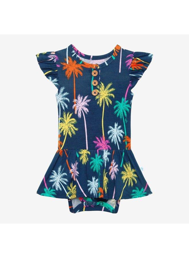 Palmer - Ruffled Capsleeve Henley Twirl Skirt Bodysuit