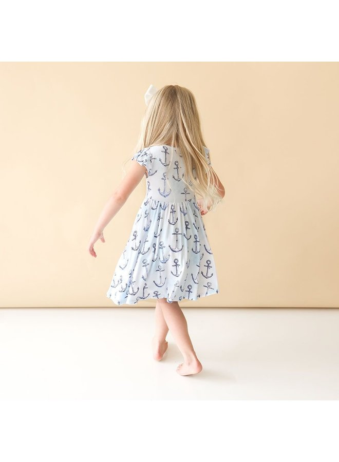 Anchors Away - Ruffled Capsleeve Henley Twirl Dress