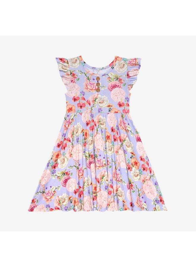 Bellamy - Ruffled Capsleeve Henley Twirl Dress