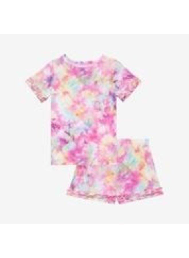 Joplin - Basic Short Sleeve Micro Ruffled T-Shirt and Shorts