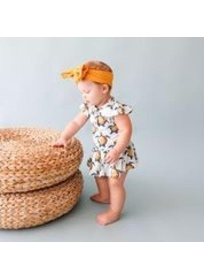 Cruz - Ruffled Capsleeve Henley Twirl Skirt Bodysuit