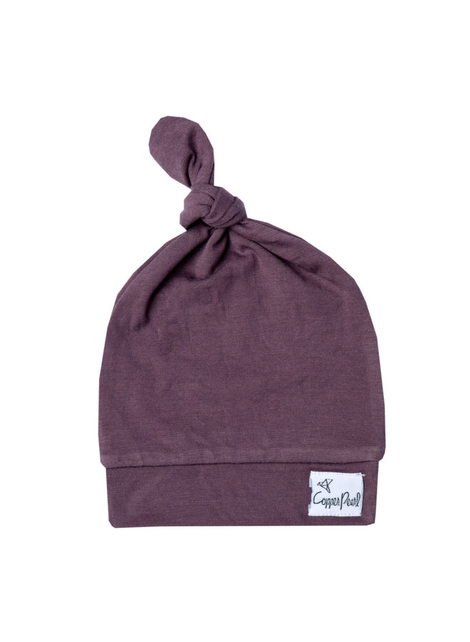 Plum Top Knot Hat
