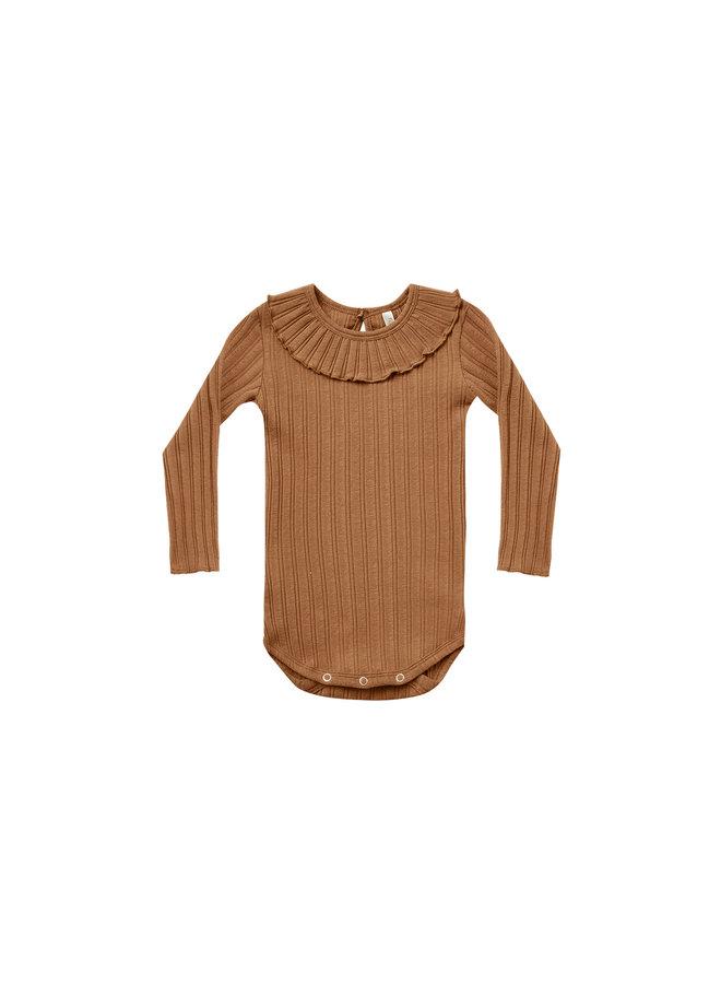 Ruffle Collar Bodysuit - Rust