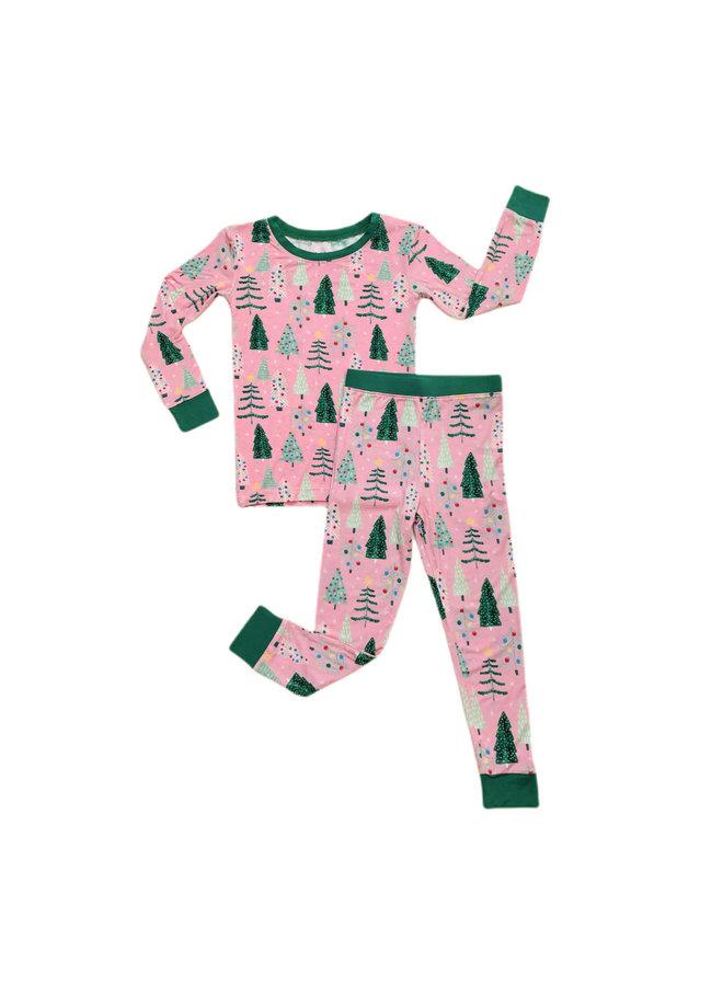 Pink Twinkling Trees - Two-piece Pajama Set
