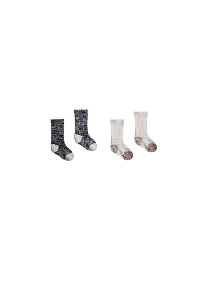 Chunky Knit Socks Set - Color Block