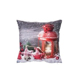 """Ganz CHRISTMAS 16"""" RED LANTERN PILLOW WITH LED LIGHTS"""