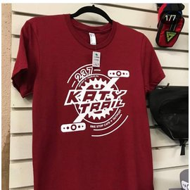 Bike Stop Cafe BSC Katy Trail Pedal & Chain Ring T-Shirt- Cardinal -Medium