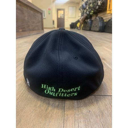 HIGH DESERT ARCHERY HDO FLEXFIT HAT BLACK W/ GREEN SM-MD
