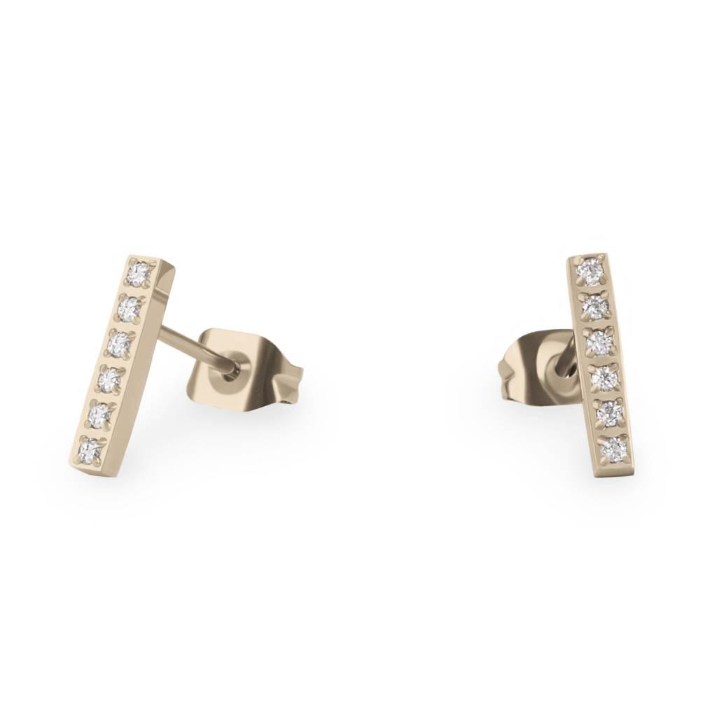 Boucles d'oreilles - Barre Acier Inox Doré-1