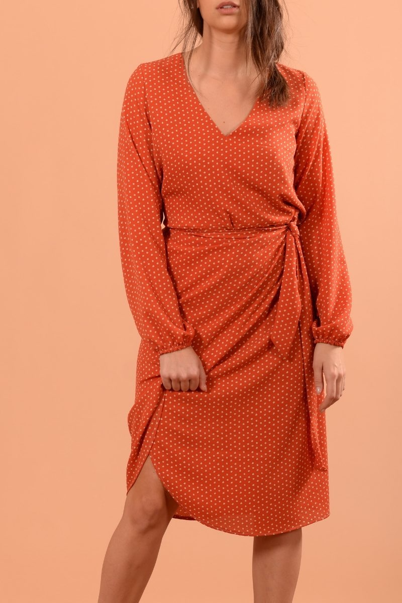 Clara Orange Pois Ecru-1