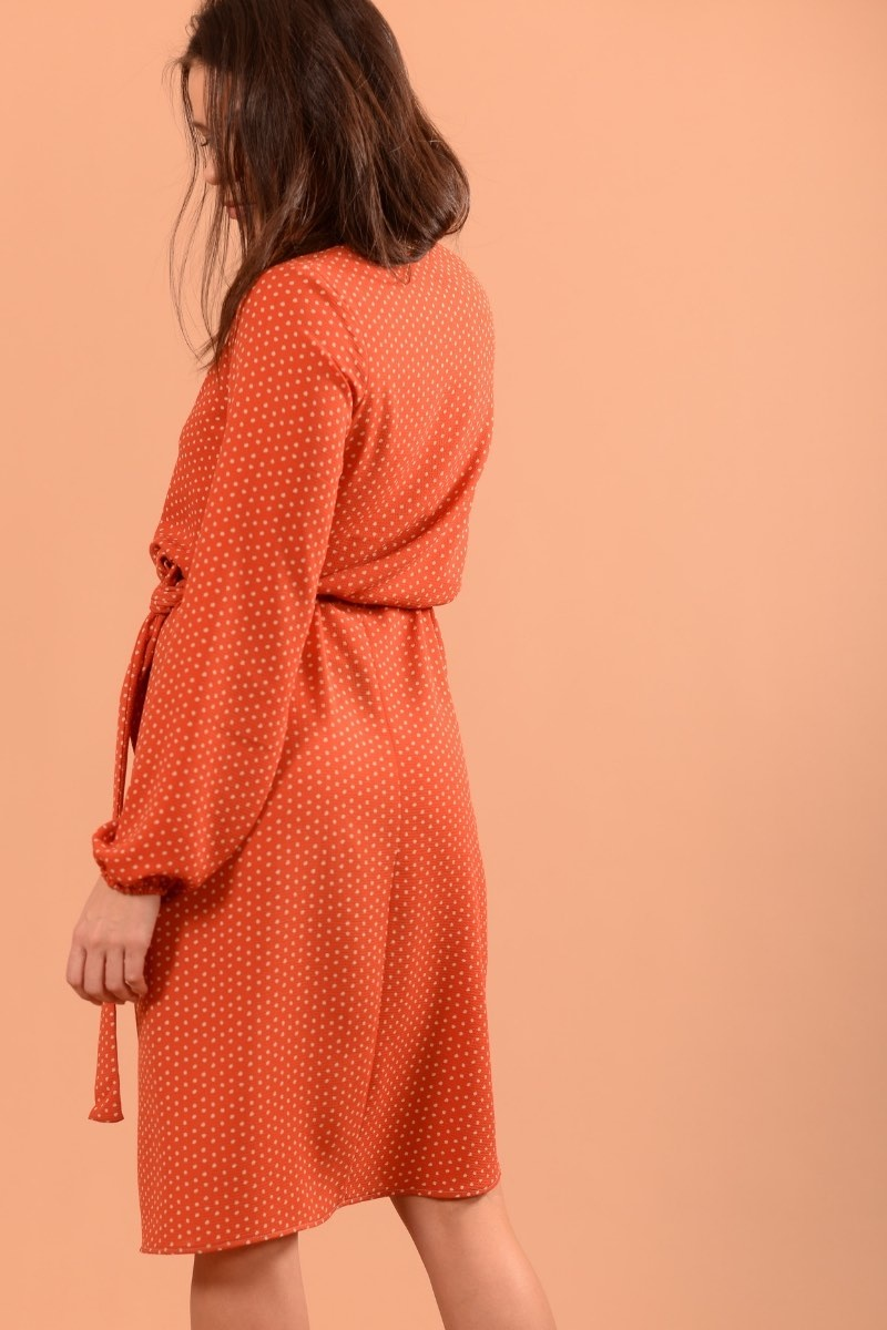 Clara Orange Pois Ecru-3