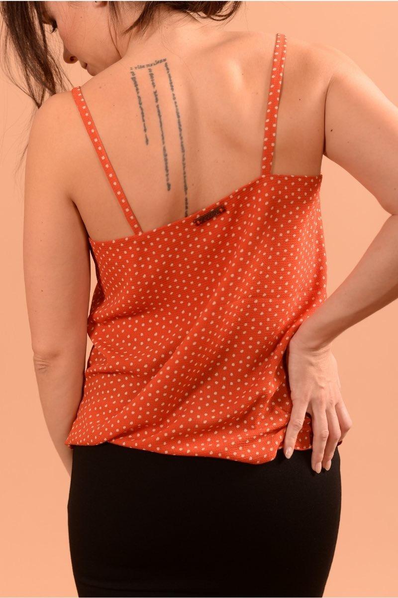 Keira Orange Pois Ecru-3