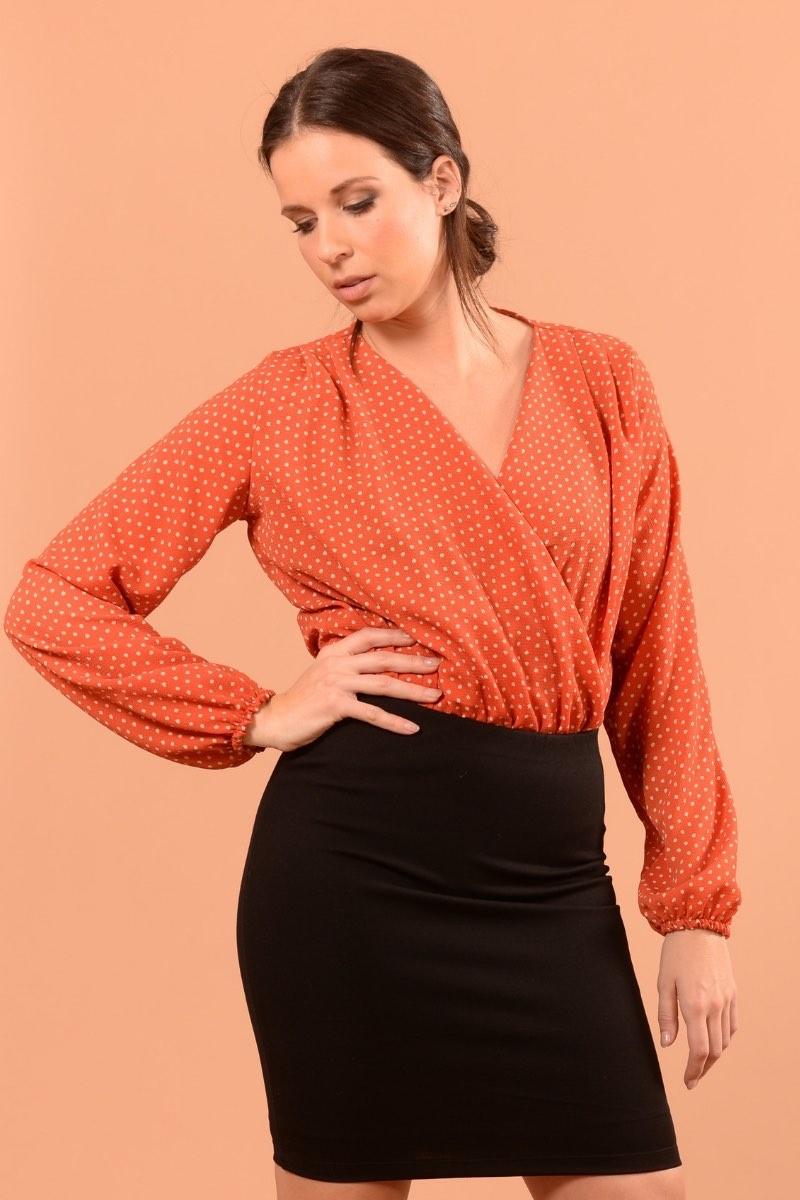 Marilyse Orange Pois Ecru-1