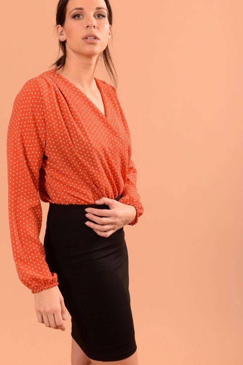 Marilyse Orange Pois Ecru-2
