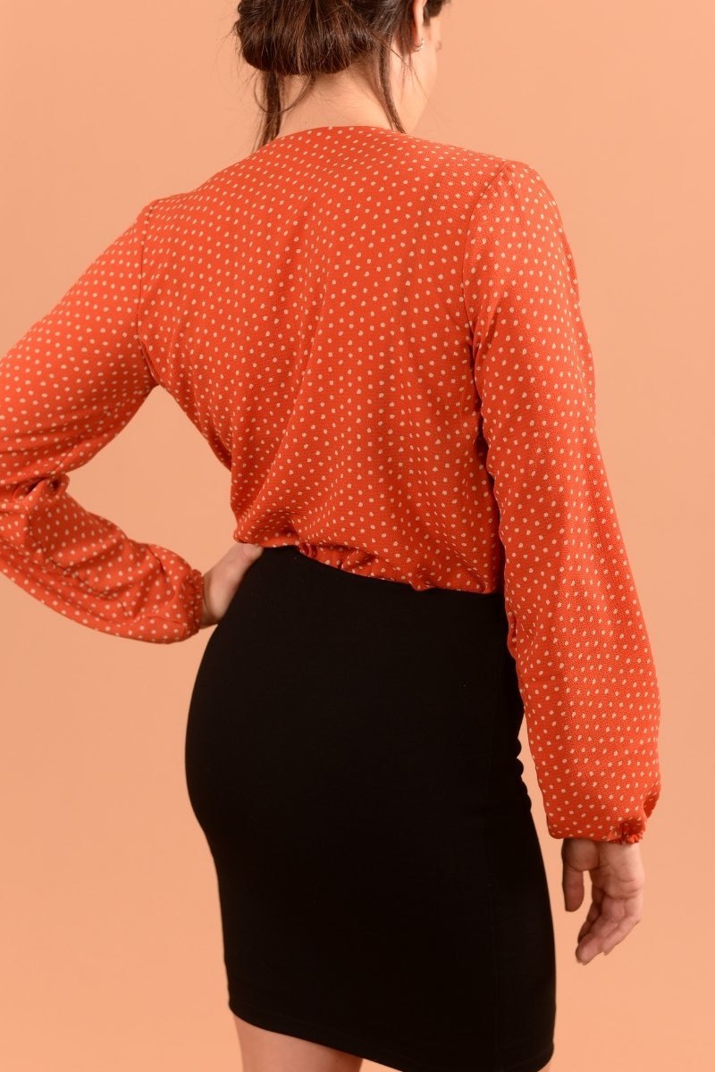 Marilyse Orange Pois Ecru-3