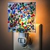 "Night Light - Blue Translucent w/Multi Color Glass Chips 2.5"" x 3"""