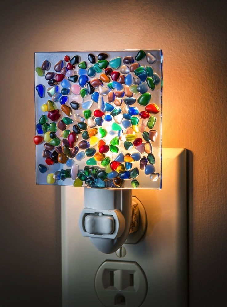 "Night Light - Blue Translucent w/Multi Color Glass Chips 2.5"" x 3"""