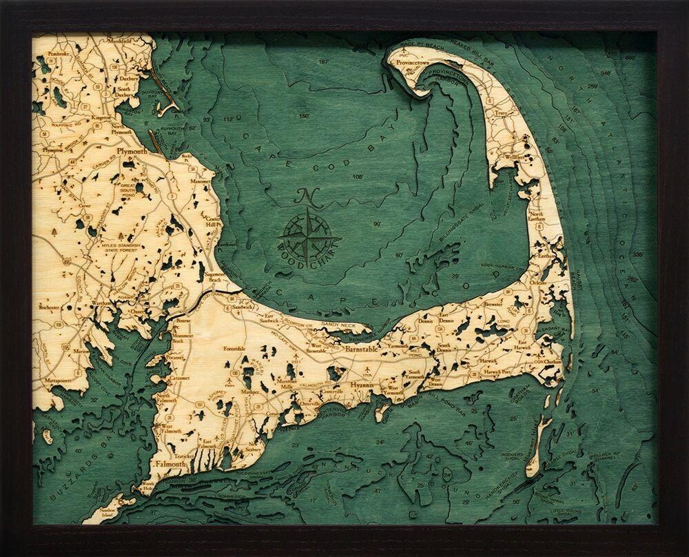 "Small Cape Cod Wood Carving 16""W x 20""L"