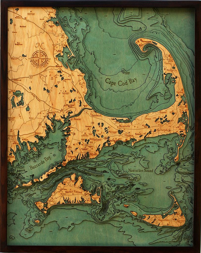"""Cape Cod & The Islands Wood Carving 24.5""""W x 31""""L"""