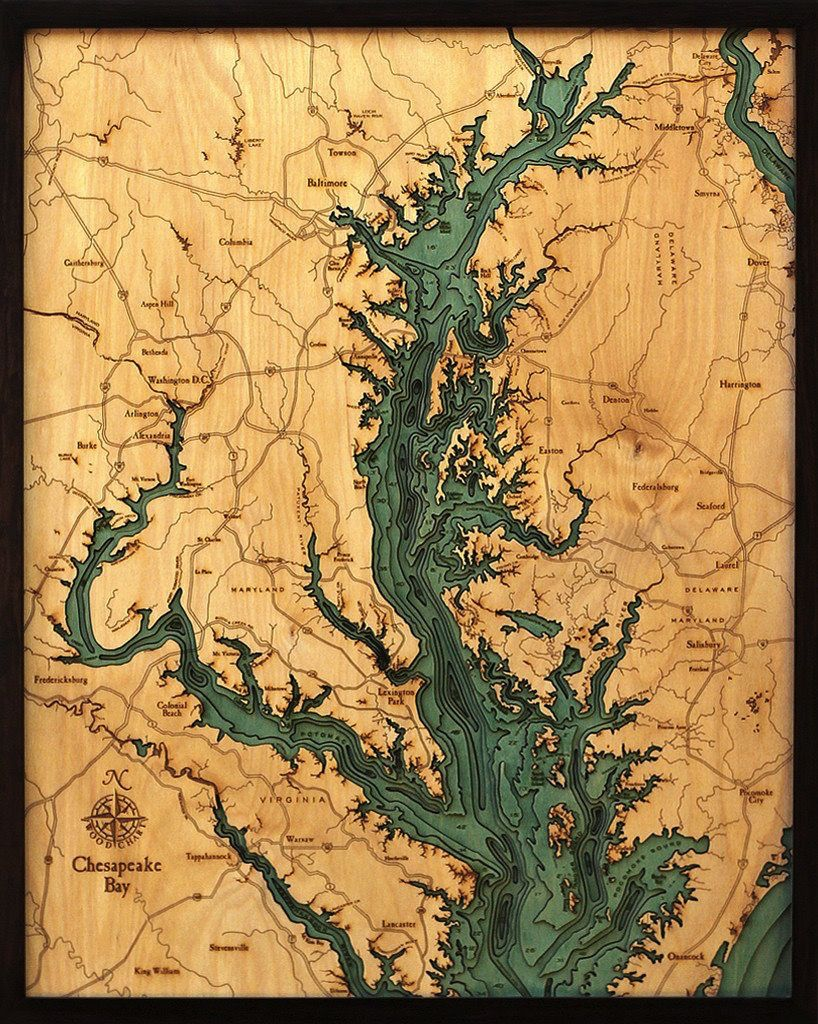 "Chesapeake Bay Wood Carving 24.5""W x 31""L"