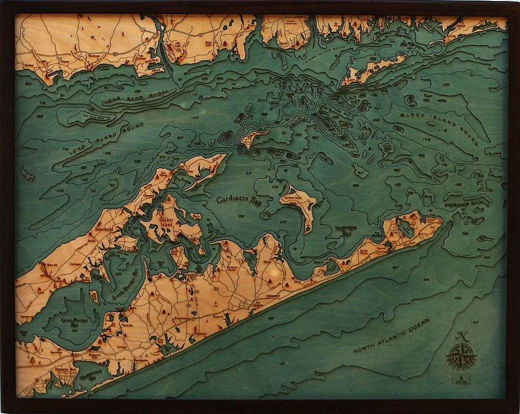 "East Long Island Sound Wood Carving 24.5""W x 31""L"