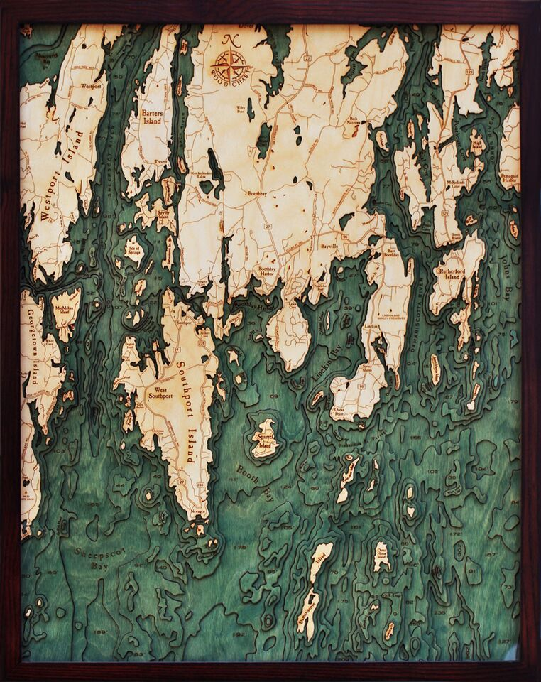 """Boothbay Harbor, ME <br />Wood Carving 24.5""""W x 31""""L"""