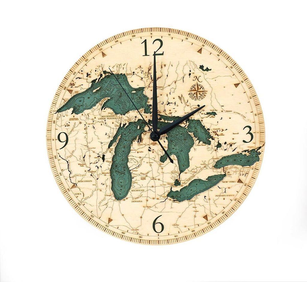"Great Lakes Wood Clock 12"""