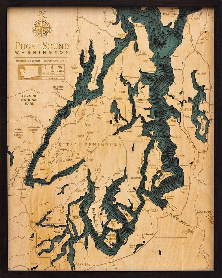 "Puget Sound Wood Carving 24.5""W x 31""L"