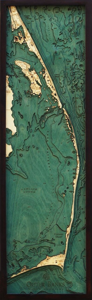 "Outer Banks Wood Map 13.5"" x 43"""