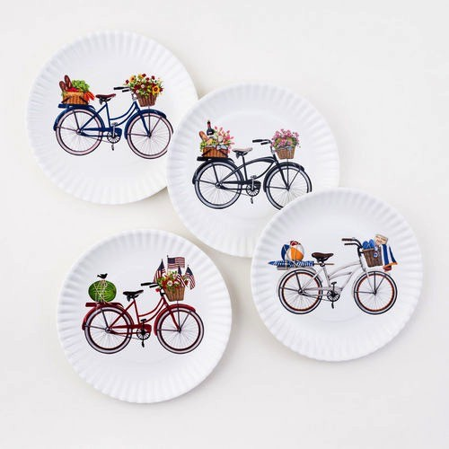 "Washable ""Paper"" Plates - Bikes, 9"" Set of 4 Assorted"