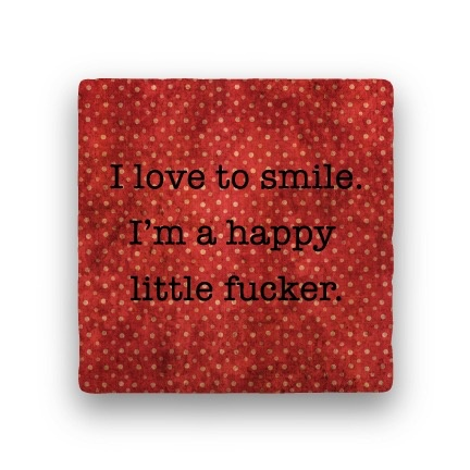 i love to smile Coaster - Natural Stone