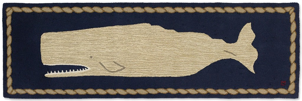 Moby Dick Whale Runner - Blue & White 2.5' x 8'