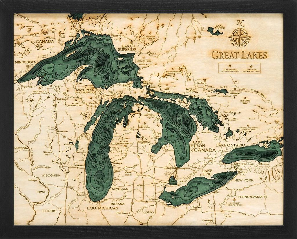 "Small Great Lakes Wood Carving 16""H x 20""W"