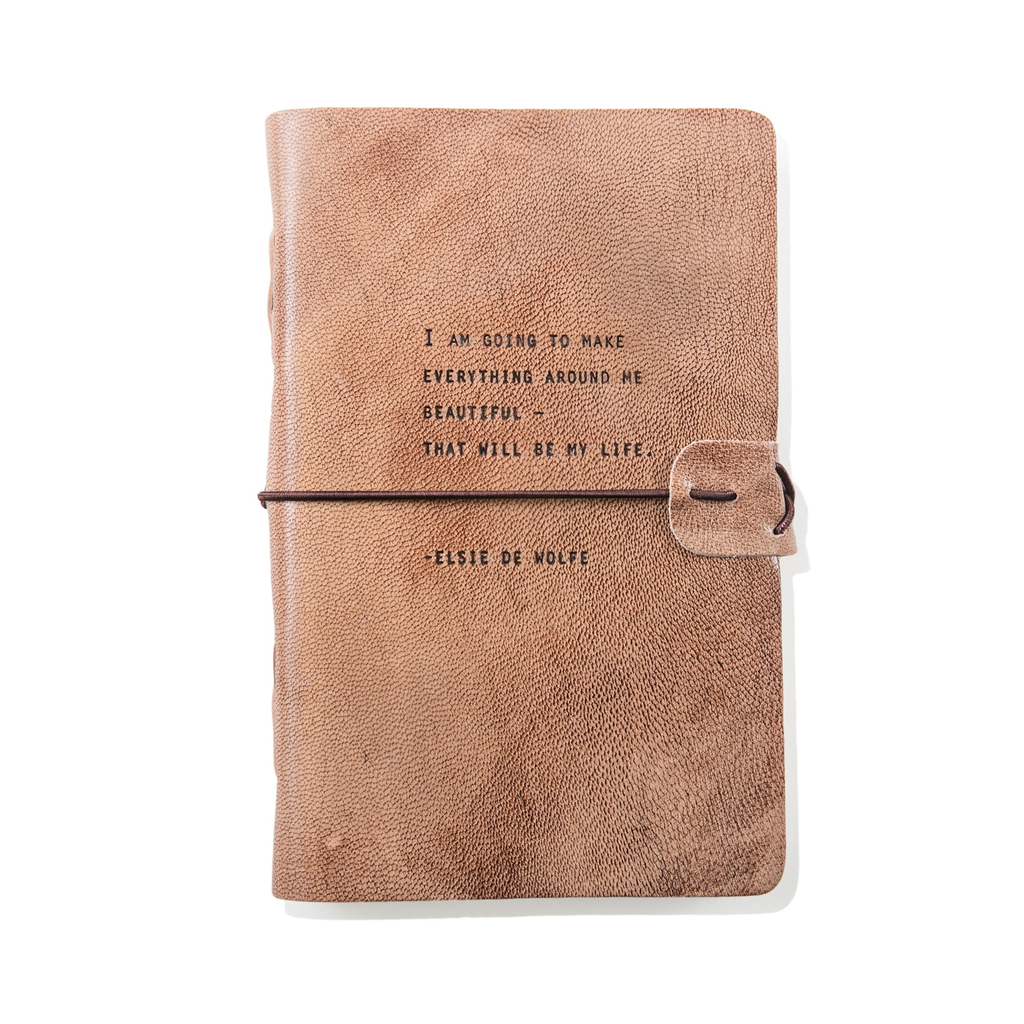 "Blush Leather Journal - Elsie De Wolfe 7"" x 9.75"""