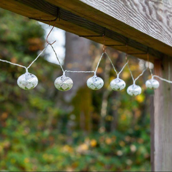 Marrakesh Silver Droplet Solar String Lights - Metal 10 piece