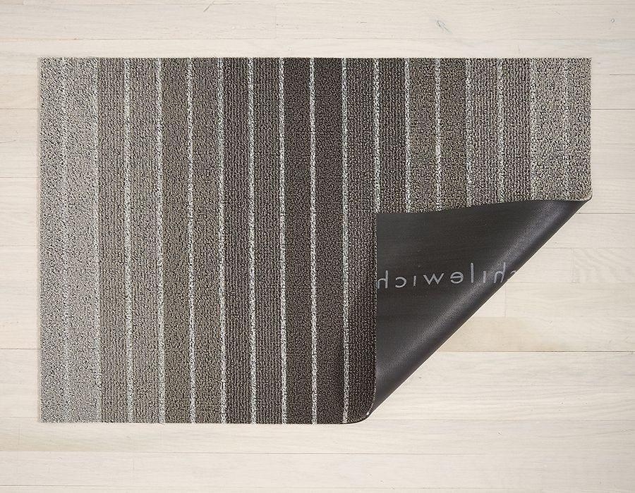 "Chilewich Block Stripe Shag Utility Mat- Taupe 24"" x 36"""