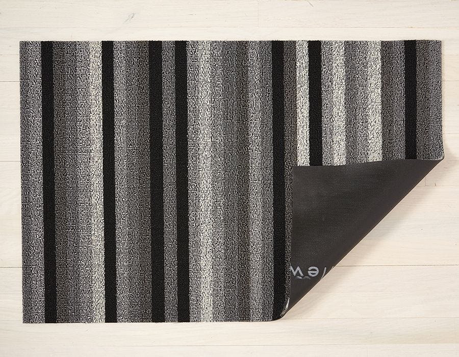 "Chilewich Even Stripe Shag Doormat - Mineral 18"" x 28"""