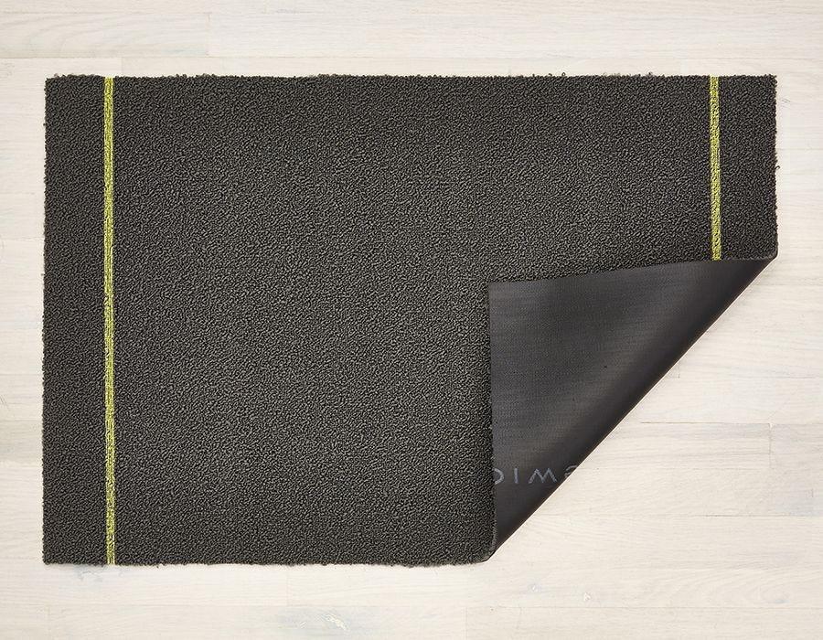 "Chilewich Simple Stripe Shag Doormat - Grey Citron 18"" x 28"""