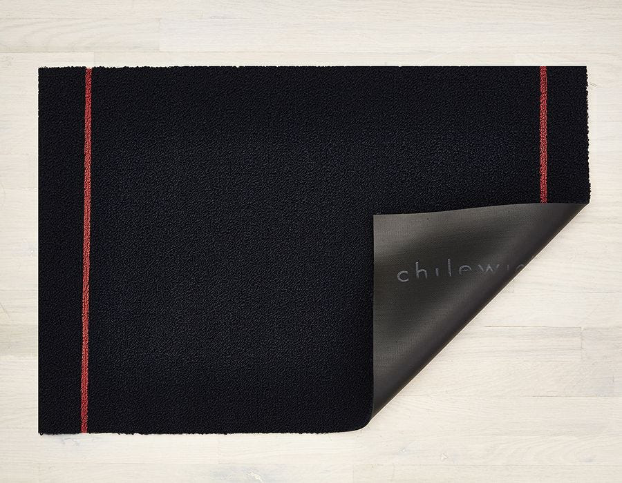 "Chilewich Simple Stripe Shag Doormat - Navy Coral 18"" x 28"""
