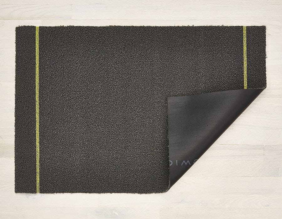 "Chilewich Simple Stripe Shag Floormat Runner - Grey/Citron 26"" x 72"""