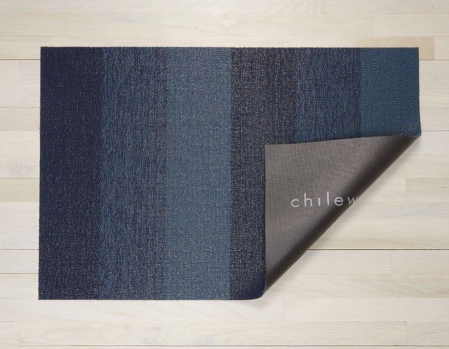"Chilewich Marble Stripe Shag Door Mat - Bay Blue 18"" x 28"""
