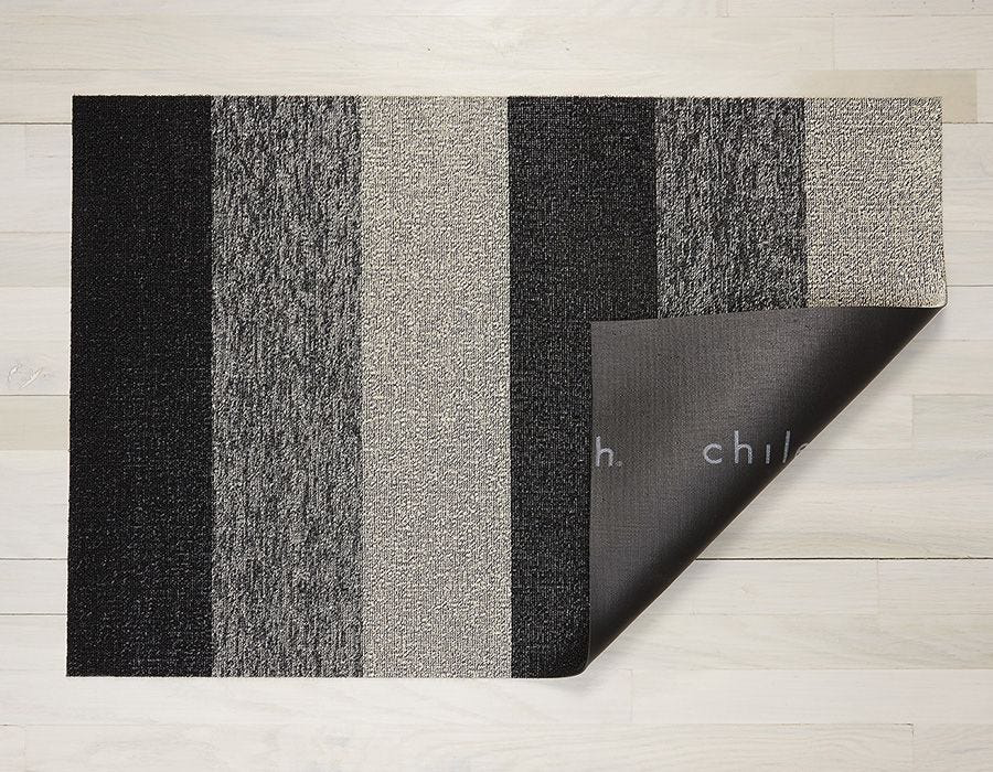 "Chilewich Marble Stripe Shag Door Mat - Salt & Pepper 18"" x 28"""