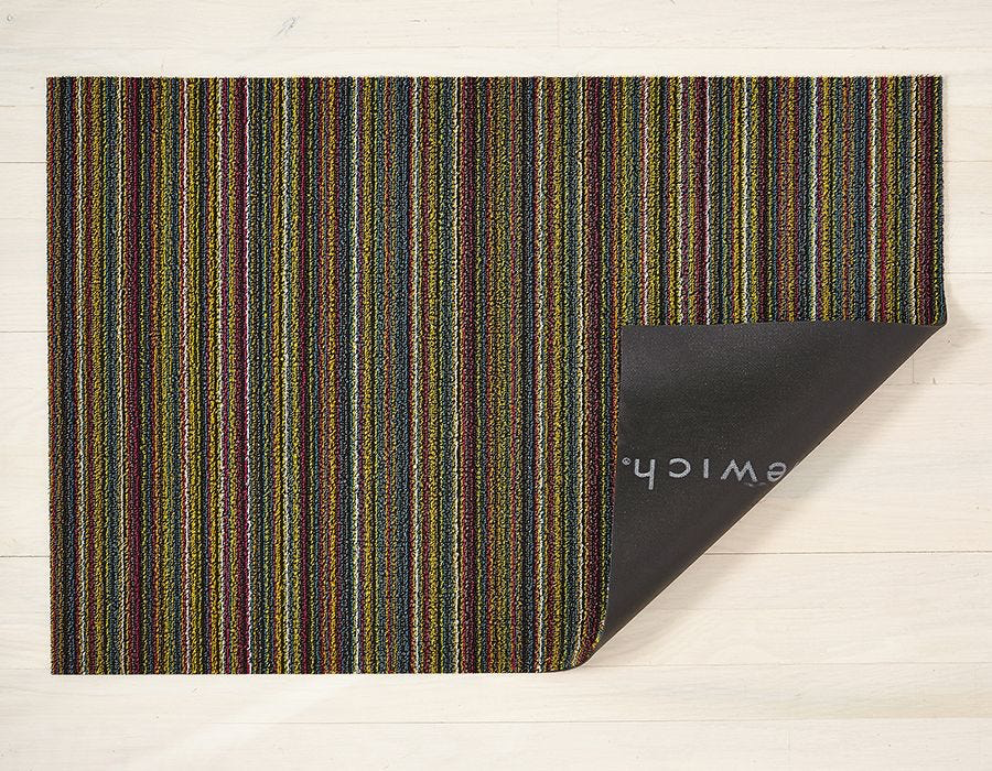 "Chilewich Skinny Stripe Shag Doormat - Bright Multi 18"" x 28"""