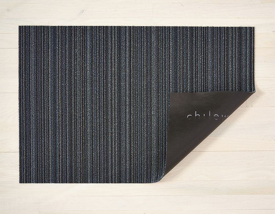 """Chilewich Skinny Stripe Shag Runner- Blue 24"""" x 72"""""""