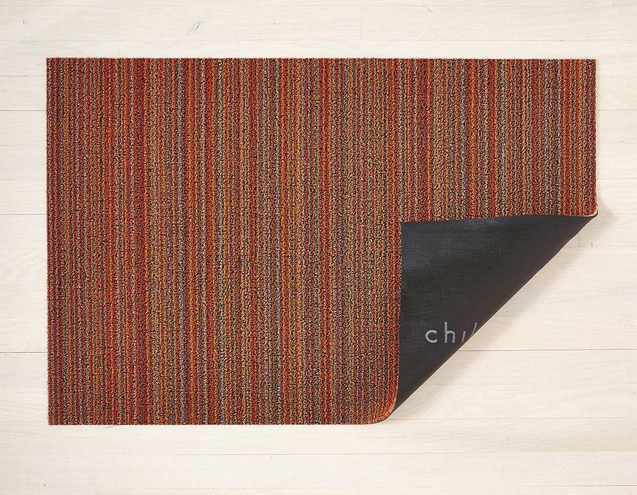 "Chilewich Skinny Stripe Shag Utility Mat- Orange 24"" x 36"""