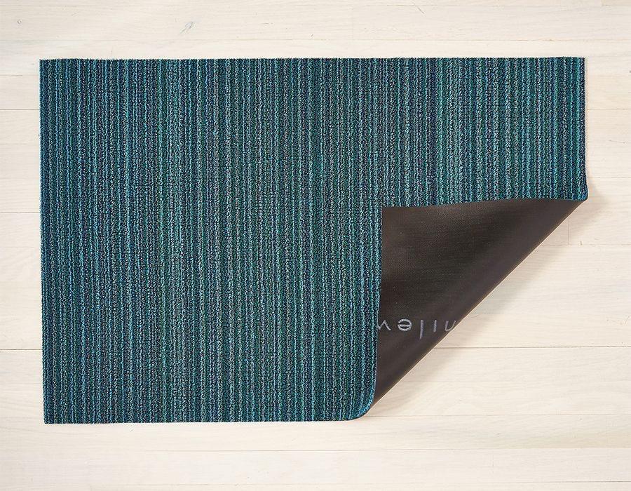 "Chilewich Skinny Stripe Shag Utility Mat - Turquoise 24"" x 36"""