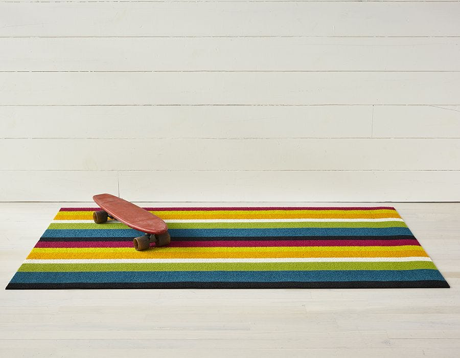 "Chilewich Bold Stripe Shag Big Mat - Multi 36"" x 60"""