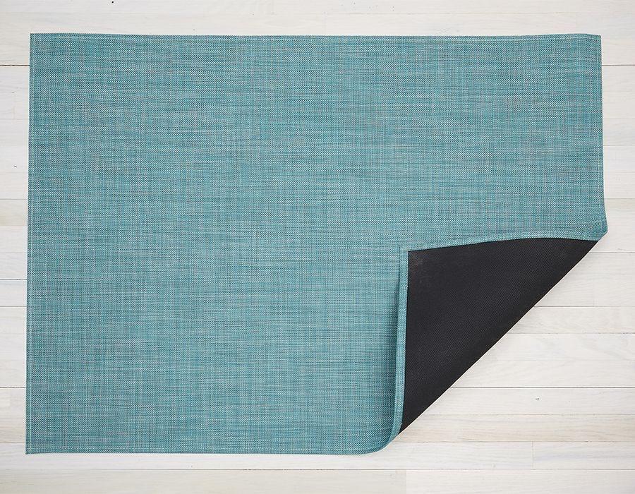 "Chilewich Mini Basketweave Floormat - Turquoise 46"" x 72"""